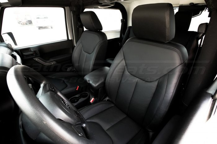 Jeep Wrangler Leather Seats - Black - Front drivers seat