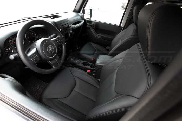 Jeep Wrangler Leather Seats - Black - Front drivers seat overhead view