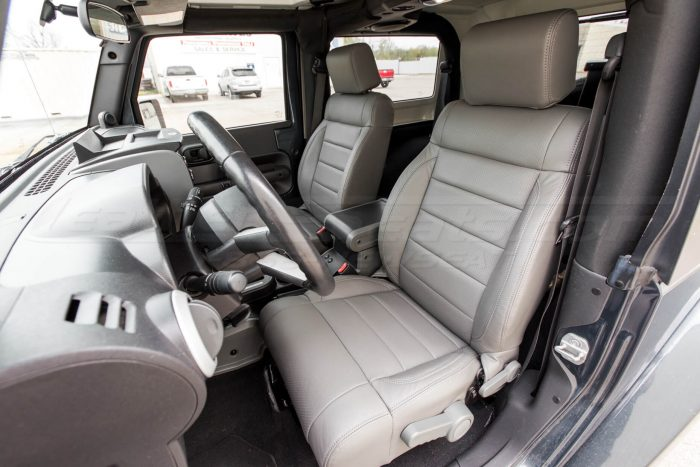 Jeep Wrangler Leather Seats - Light Grey - Front interior from drivers side