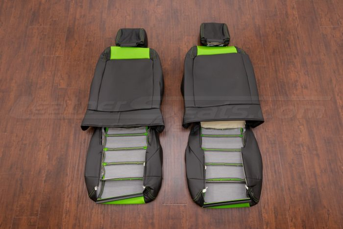 Jeep Wrangler Upholstery Kit - Black & Lime Green - Back of front seats