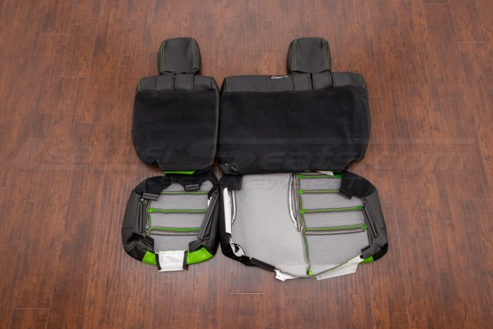 Jeep Wrangler Upholstery Kit - Black & Lime Green - Back view of rear seats