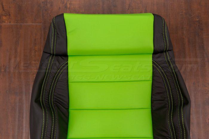 Jeep Wrangler Upholstery Kit - Black & Lime Green - Front backrest close-up