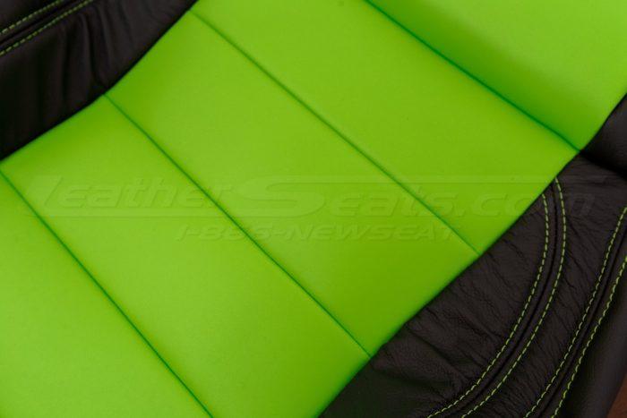 Jeep Wrangler Upholstery Kit - Black & Lime Green - Backrest close-up alternative angle
