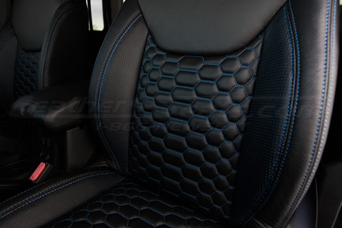 2013-2018 Jeep Wrangler Bespoked Leather Seats Installed- Black & Cobalt - Reticulated Hex backrest insert