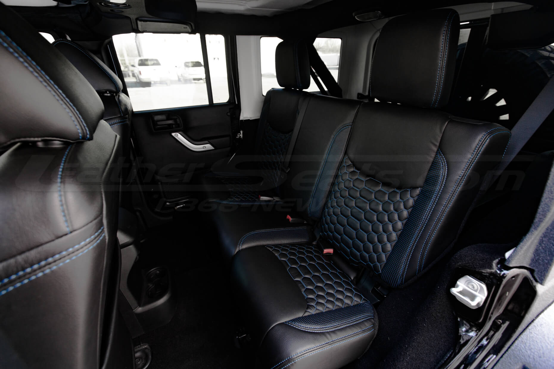 2013-2018 Jeep Wrangler Bespoked Leather Seats Installed- Black & Cobalt - Rear seats
