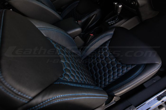 2013-2018 Jeep Wrangler Bespoked Leather Seats Installed- Black & Cobalt - Front passenger seat top-down view