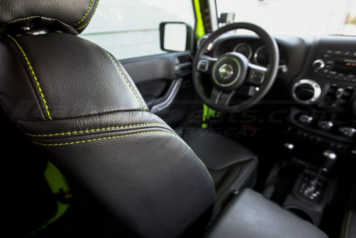 Jeep Wrangler Installed Leather Seats - Black & Piazza Green - Front backrest double-stitching