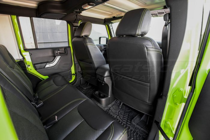 Jeep Wrangler Installed Leather Seats - Black & Piazza Green - Back view of front seats