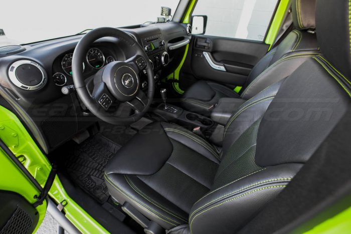 Jeep Wrangler Installed Leather Seats - Black & Piazza Green - Front drivers seat