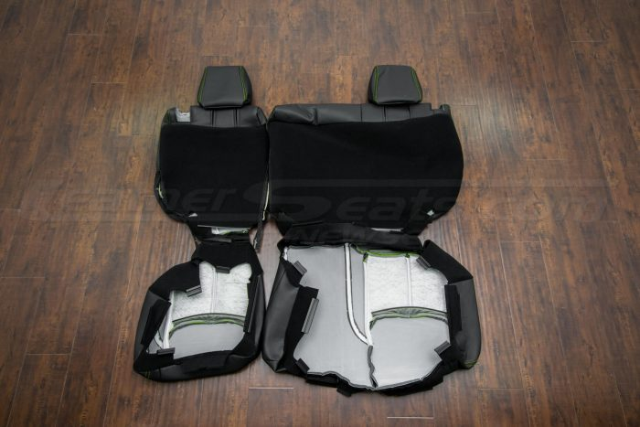 Jeep Wrangler Leather Seats - Black & Piazza Green - Back of rear seats
