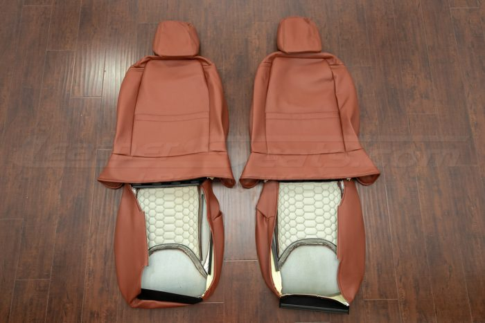 Jeep Wrangler Reticulated Upholstery Kit - Mitt Brown - Back view of front seats