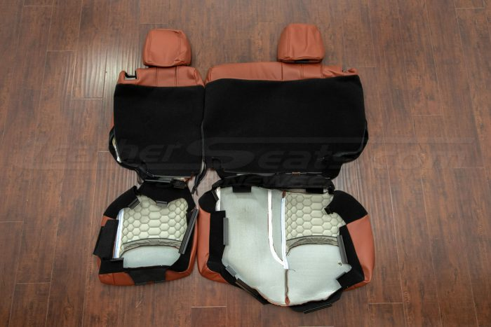 Jeep Wrangler Reticulated Upholstery Kit - Mitt Brown - Back view of rear seats
