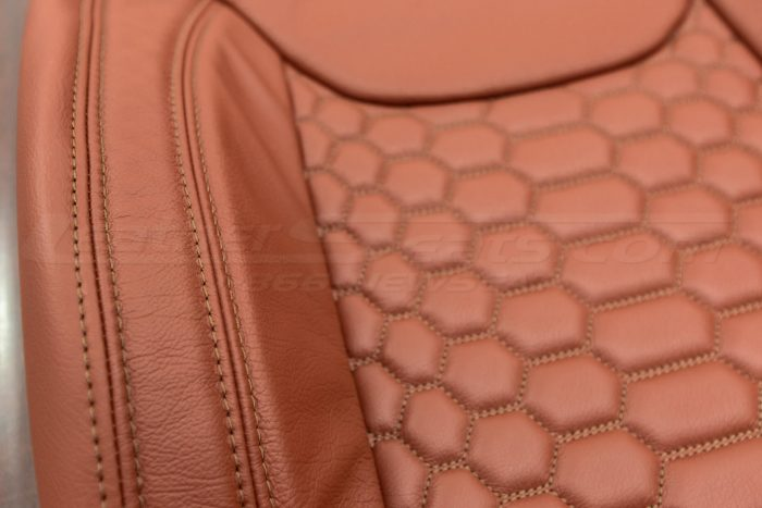 Jeep Wrangler Reticulated Upholstery Kit - Mitt Brown - Reticulated Hex insert with side-stitching