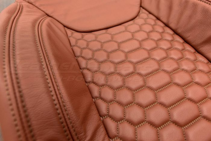 Jeep Wrangler Reticulated Upholstery Kit - Mitt Brown - Reticulated Hex insert with side-stitching alternative view