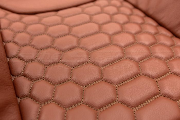 Jeep Wrangler Reticulated Upholstery Kit - Mitt Brown - Reticulated Hex insert close-up