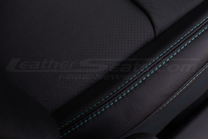 Jeep Wrangler JL Upholstery Kit - Black - Installed - Turquoise double-stitching