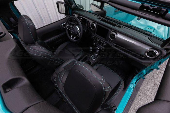 Jeep Wrangler JL Upholstery Kit - Black - Installed - Front interior overhead