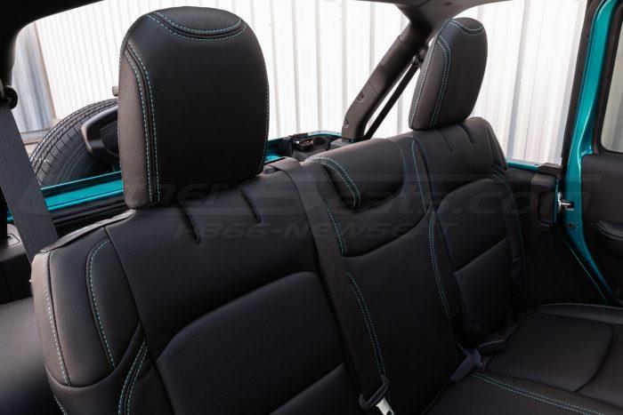 Jeep Wrangler JL Upholstery Kit - Black - Installed - Rear seat headrests