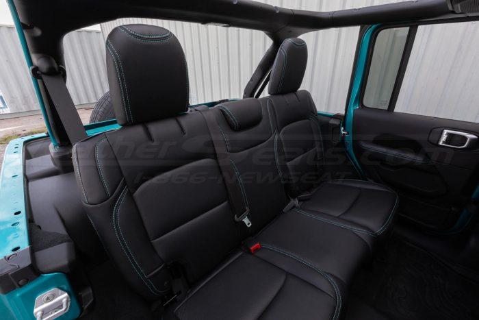 Jeep Wrangler JL Upholstery Kit - Black - Installed - Rear seats passenger view