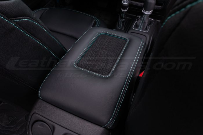 Jeep Wrangler JL Upholstery Kit - Black - Installed - Sanctum wireless charging console close-up