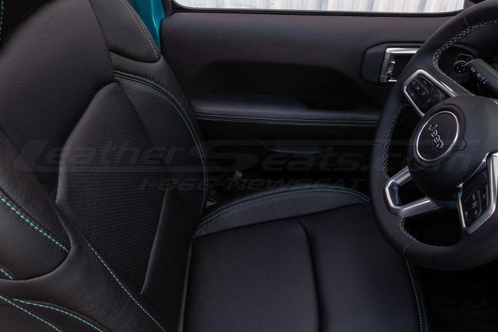 Jeep Wrangler JL Upholstery Kit - Black - Installed - Door armrest and backrest perforation