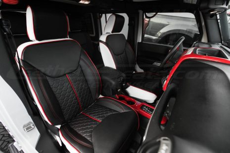 2013-2018 Jeep Wrangler Reticulated Hex installed Upholstery Kit - White/Black/Bright Red - Front interior passenger side view
