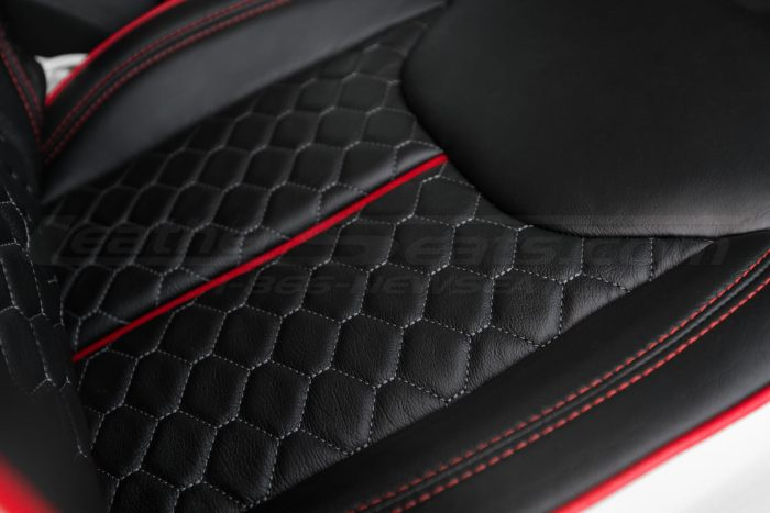 2013-2018 Jeep Wrangler Reticulated Hex installed Upholstery Kit - White/Black/Bright Red - Reticulated seat cushion close-up