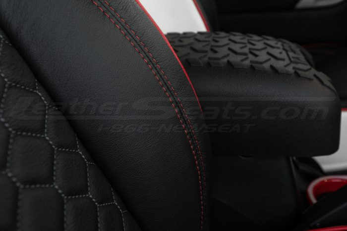 2013-2018 Jeep Wrangler Reticulated Hex installed Upholstery Kit - White/Black/Bright Red - Bolster double-stitching