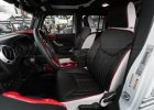 2013-2018 Jeep Wrangler Reticulated Hex installed Upholstery Kit - White/Black/Bright Red - Front interior from drivers side