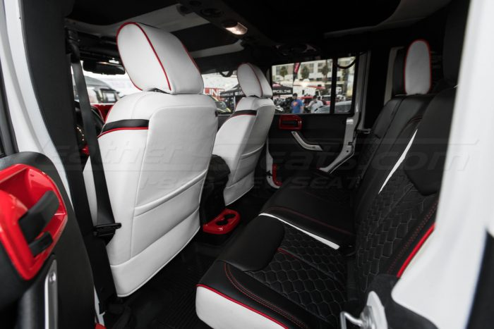 2013-2018 Jeep Wrangler Reticulated Hex installed Upholstery Kit - White/Black/Bright Red - Rear seats from drivers side & back of front seats