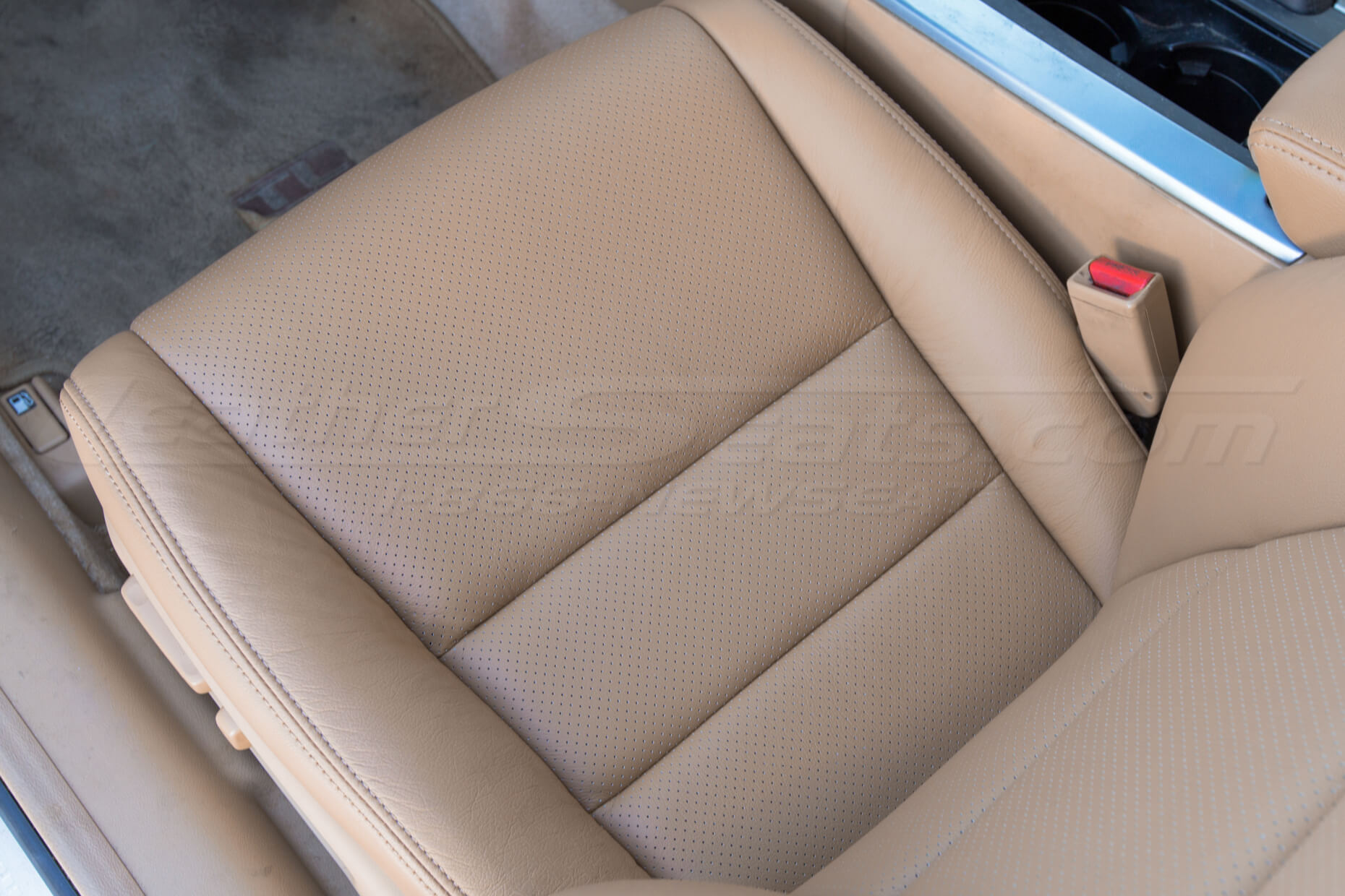 Repaired leather seat cushion