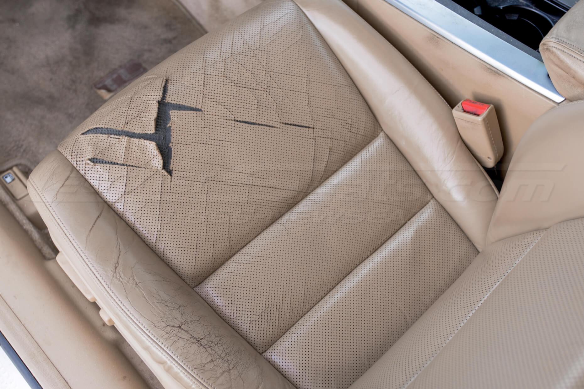 Damaged leather seat cushion