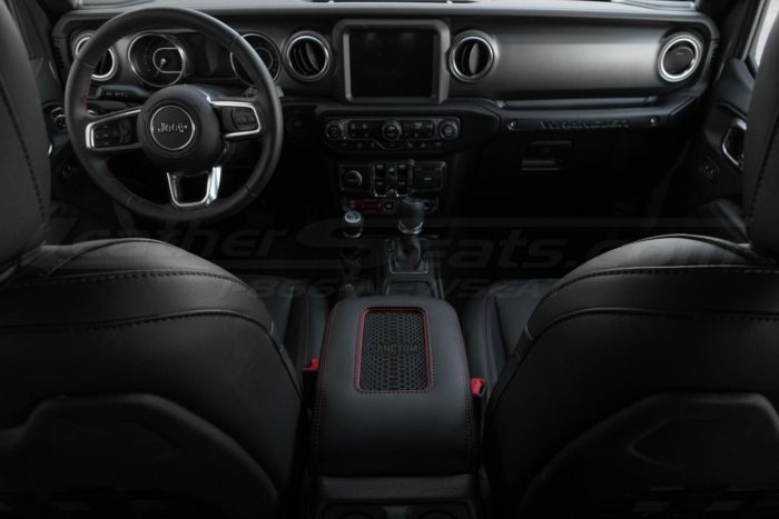 Installed Jeep custom wireless charging center console