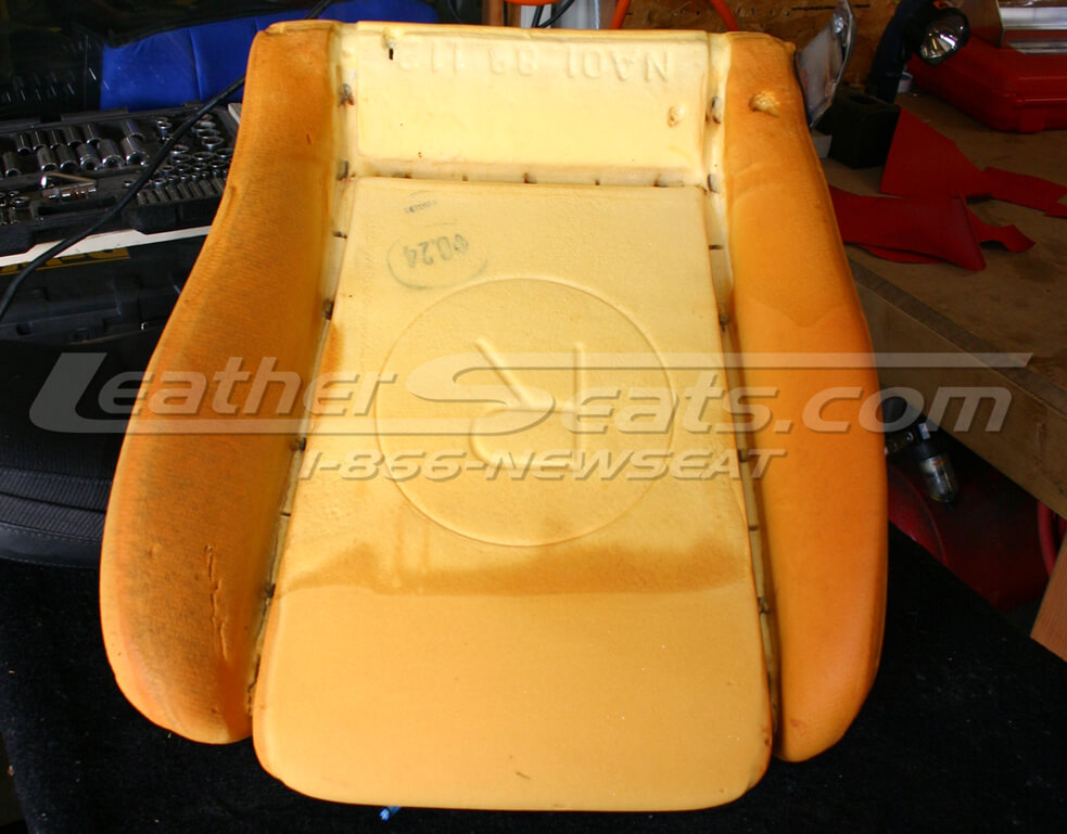 Seat cushion with factory cover removed,