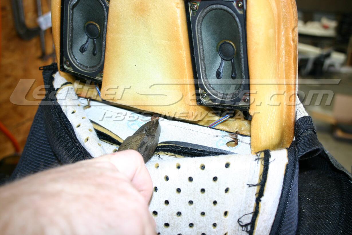 Headrest hog ring removal