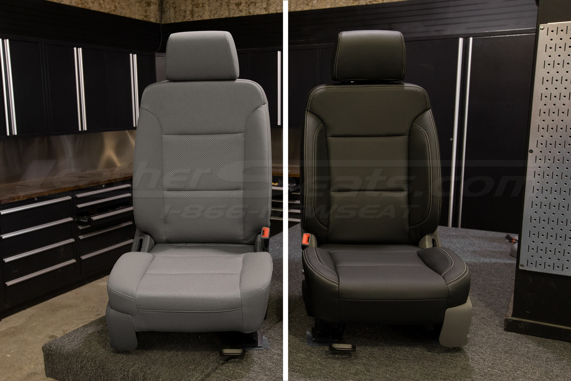 before and after automotive seat upholstery