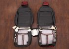 2016-2021 Honda Civic Leather Seat Upholstery - Black & Cardinal - Back view of front seats and console cover