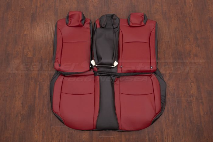 2016-2021 Honda Civic Leather Seat Upholstery - Black & Cardinal - Rear seats with armrest