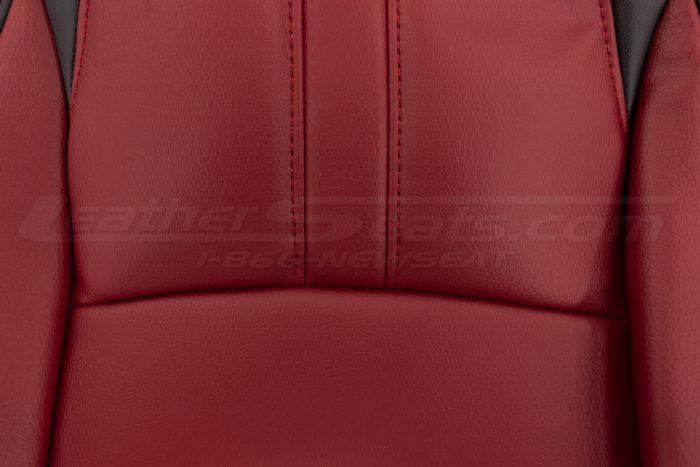 2016-2021 Honda Civic Leather Seat Upholstery - Black & Cardinal - Backrest insert close-up