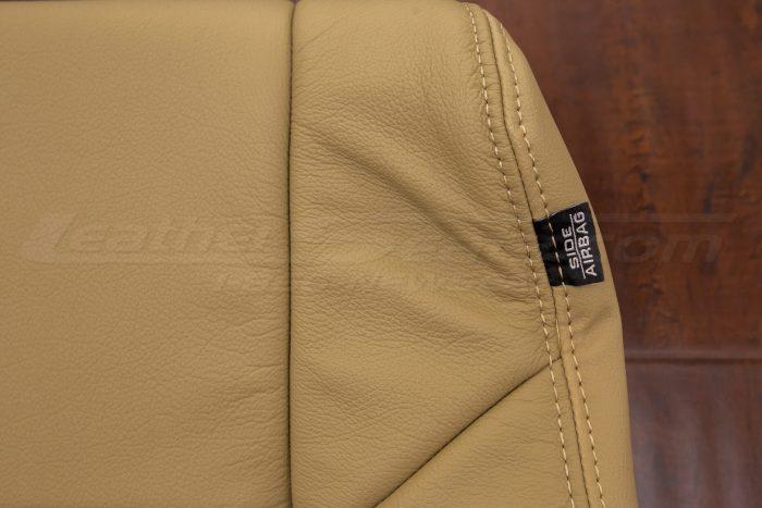Close up of stitching & airbag tag - Honda Accord Bamboo kit