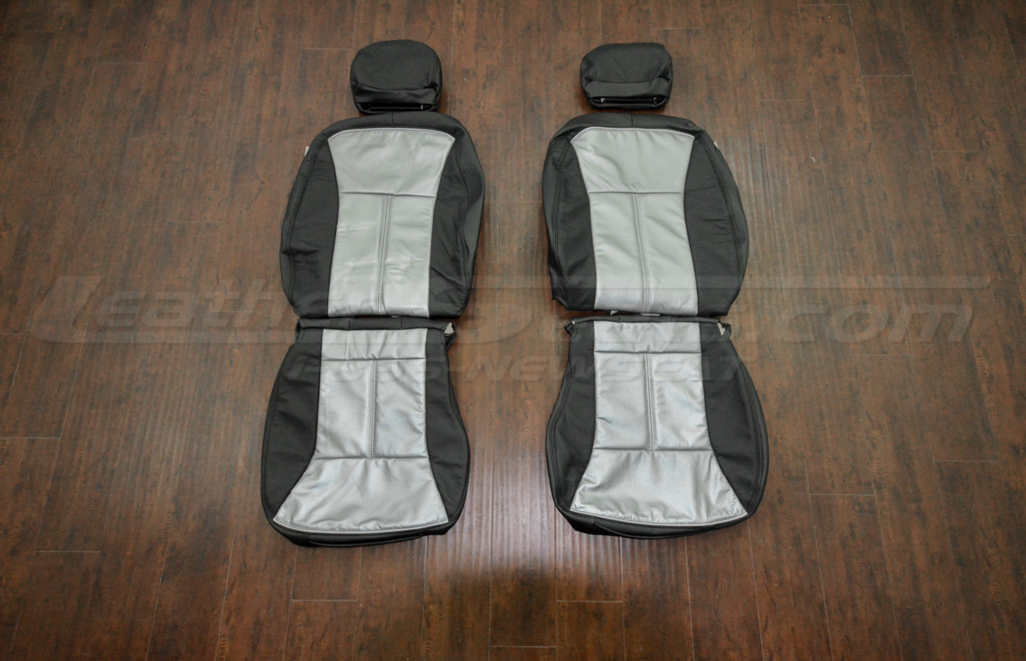 Chevrolet Impala SS Leather upholstery kit - Black & Silver - Front Seats