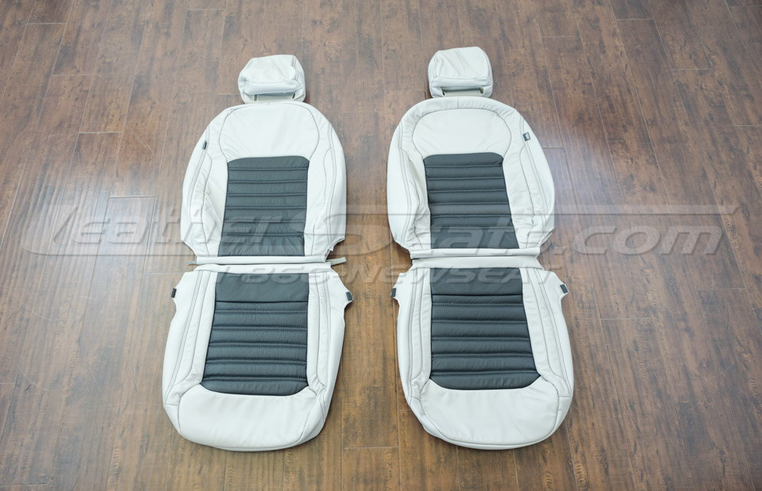 Volkswagen Passat leather upholstery kit dove grey and black - front seats