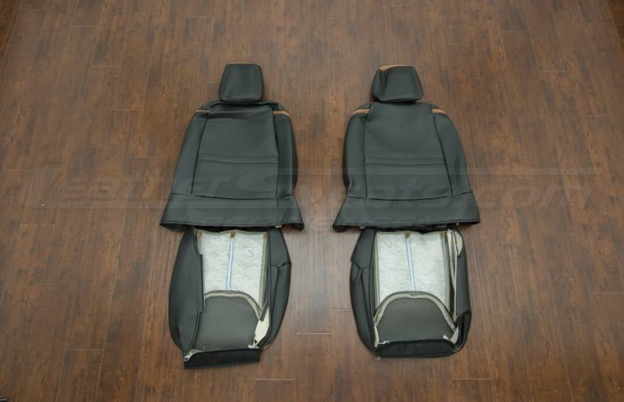 Jeep Wrangler leather kit - Black/Teak - Back view of front seats