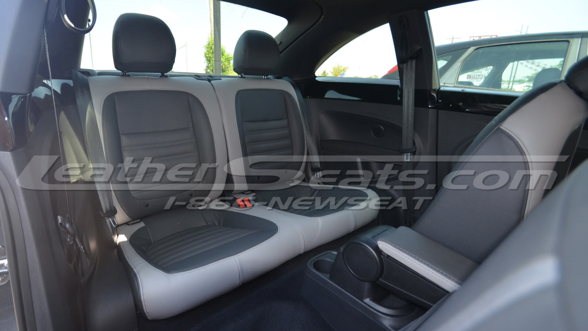 2012 Volkswagen Beetle custom leather interior - Graphite and Ash - Rear seats