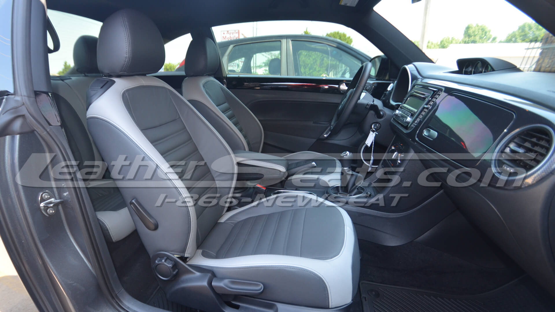 2012 Volkswagen Beetle custom leather interior - Graphite and Ash - Front passenger seat
