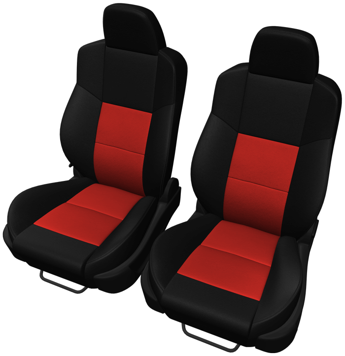 Two-Tone automotive seats in Black & Red