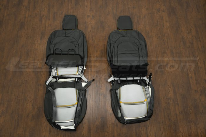 2018-2021 Jeep Wrangler Upholstery kit - Black & Velocity Yellow - Back view of front seats