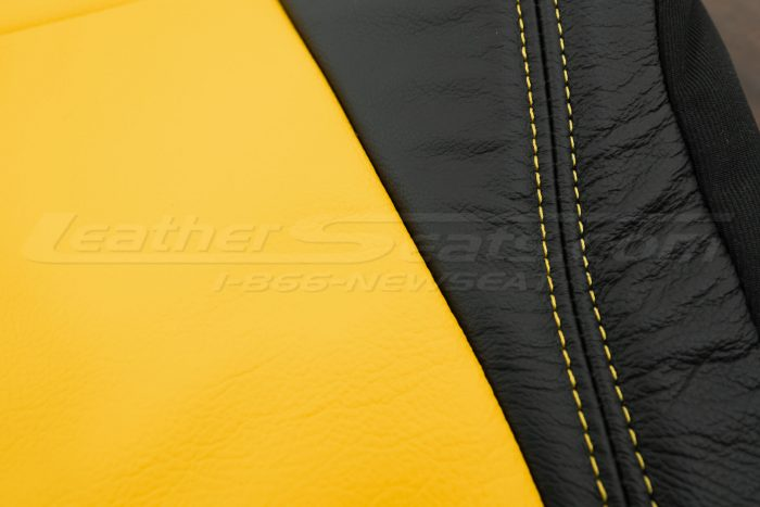 2018-2021 Jeep Wrangler Upholstery kit - Black & Velocity Yellow - Double-stitching close-up