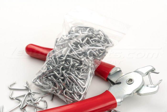 Bag of hog-rings and hog-ring pliers