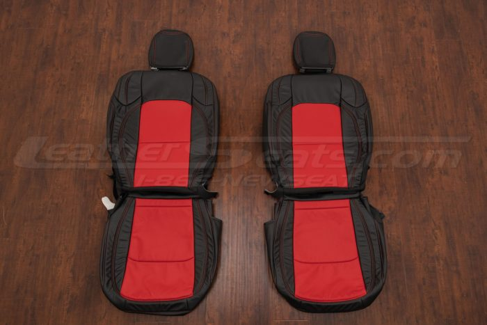 Jeep Wrangler Leather Kit - Black & Bright red - Front seat upholstery